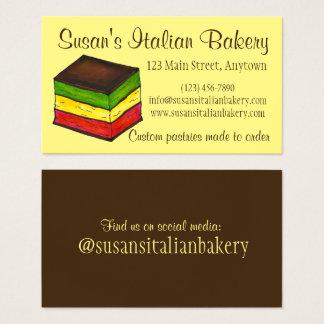 Arco iris italiano pasteles de la panadería de la tarjeta de visita