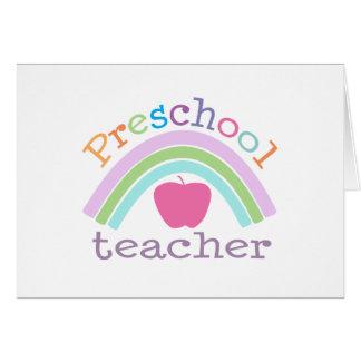 Arco iris preescolar del profesor tarjeta de felicitación