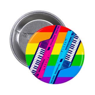 Arco iris retro de Keytar de los años 80 del tigre Pin