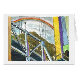 Arco iris sobre un puente tarjeta de felicitación