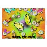 ¡Arco iris Swallowtails y cumpleaños de Daisys! Felicitacion
