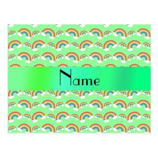 Arco iris verdes en colores pastel conocidos postal