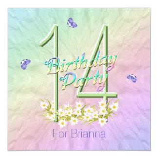 Arco iris y 14ta fiesta de cumpleaños de las invitación 13,3 cm x 13,3cm