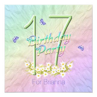Arco iris y 17ma fiesta de cumpleaños de las invitación 13,3 cm x 13,3cm