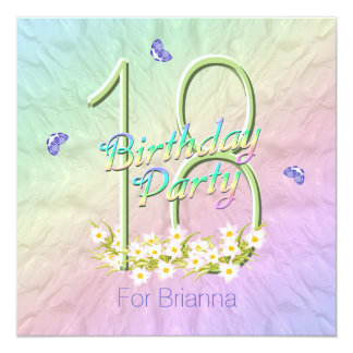 Arco iris y décimo octava fiesta de cumpleaños de invitación 13,3 cm x 13,3cm