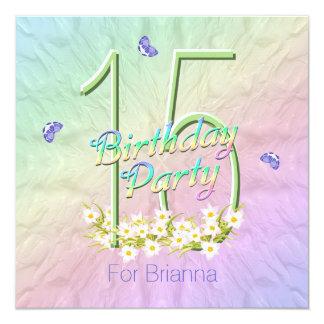 Arco iris y décimo quinta fiesta de cumpleaños de invitación 13,3 cm x 13,3cm
