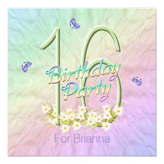 Arco iris y décimosexto fiesta de cumpleaños de invitación 13,3 cm x 13,3cm