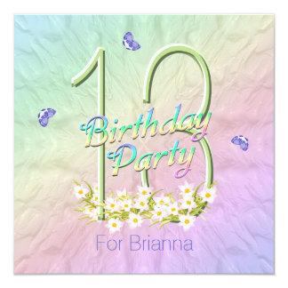 Arco iris y décimotercero fiesta de cumpleaños de invitación 13,3 cm x 13,3cm