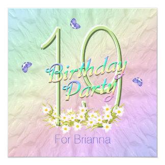 Arco iris y diecinueveavo fiesta de cumpleaños de invitación 13,3 cm x 13,3cm