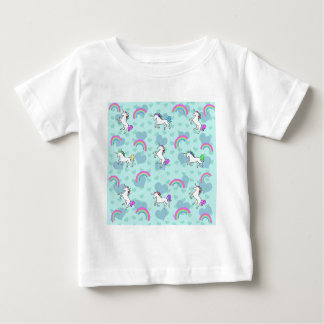 Arco iris y diseño azul psicodélico del unicornio camisas