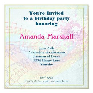 Arco iris y fiesta de las notas de la música invitación 13,3 cm x 13,3cm