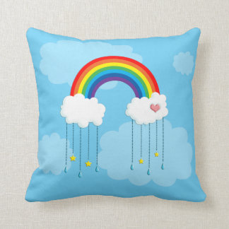 Arco iris y nubes que llueven las estrellas cojin