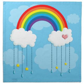 Arco iris y nubes que llueven las estrellas servilletas