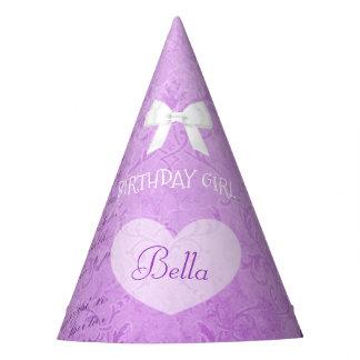 Arco púrpura del chica del cumpleaños del gorra de
