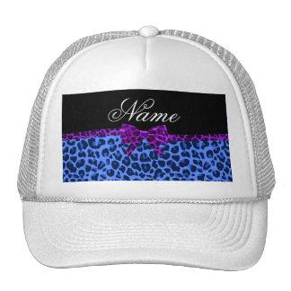 Arco púrpura personalizado del estampado leopardo  gorras