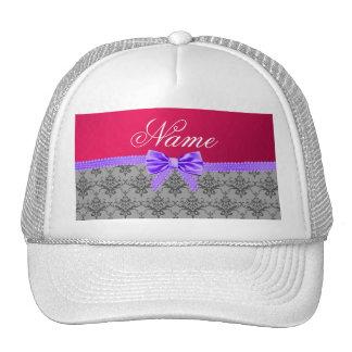 Arco púrpura personalizado del rosa gris conocido gorras