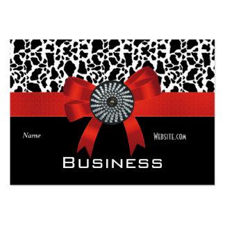 Arco rojo blanco del negro del estampado de tarjetas de visita grandes