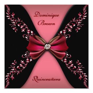 Arco rojo elegante Quinceanera del diamante negro Invitación 13,3 Cm X 13,3cm