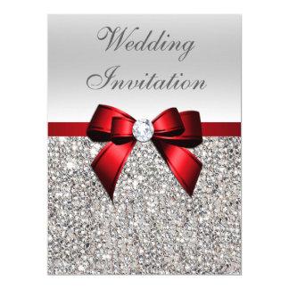 Arco rojo lentejuelas de plata grandes del boda de invitación 16,5 x 22,2 cm