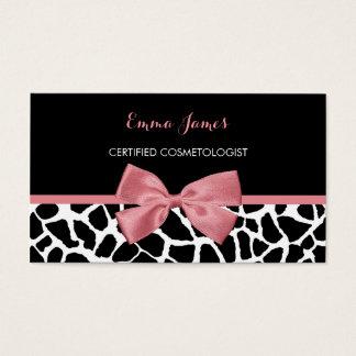 Arco rosado atractivo del estampado de girafa de tarjeta de negocios