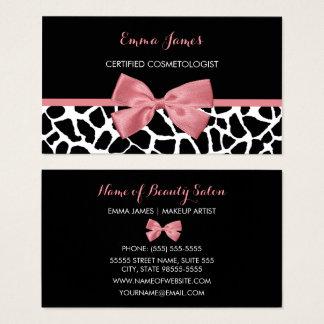 Arco rosado atractivo del estampado de girafa de tarjeta de visita