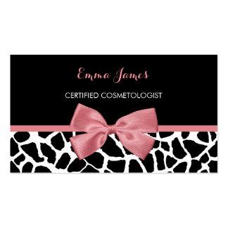 Arco rosado atractivo del estampado de girafa de tarjetas de visita
