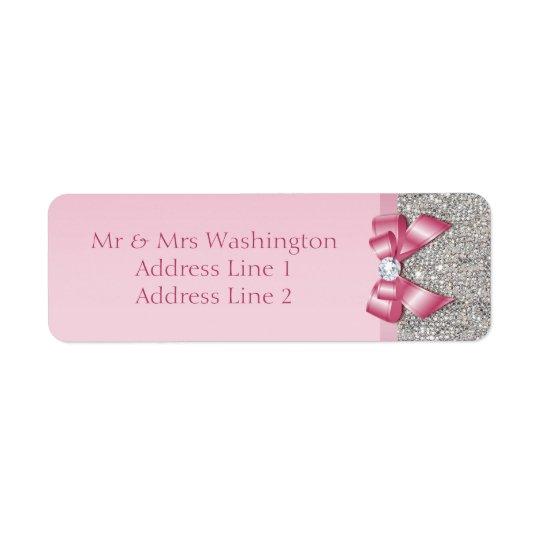 Arco rosado del diamante de las lentejuelas de etiquetas de remite