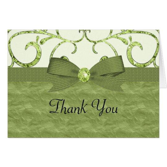 Arco verde de los remolinos del pastel y del tarjeta pequeña