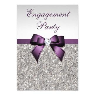 Arco violeta de las lentejuelas de plata del invitación 12,7 x 17,8 cm