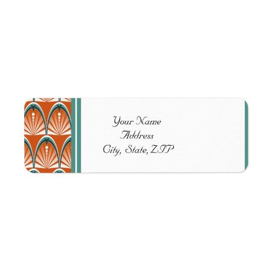 Arcos del art déco en el boda anaranjado y verde etiqueta de remite