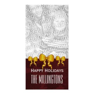 Arcos y Felices Navidad marrón V10 del oro de Tarjeta Fotografica