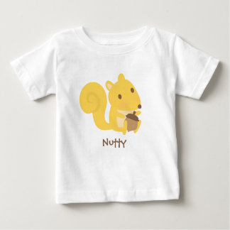 Ardilla de nuez linda con la nuez de bellota para camiseta de bebé
