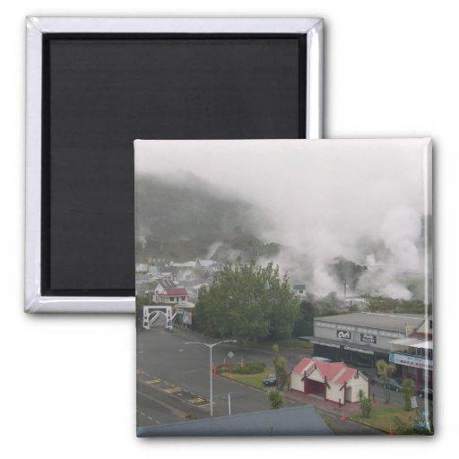 Área de niebla de Whakarewarewa geotérmica en Roto Imán Para Frigorifico