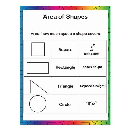 Área del arco iris de las formas postal