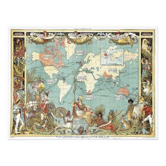 Áreas rojas del mapa del mundo en 1886 bajo contro fotos