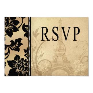 Arena de RSVP el | de la torre Eiffel de Fleur de Invitación 8,9 X 12,7 Cm
