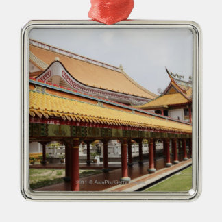 Argumentos de templo budista adorno cuadrado plateado