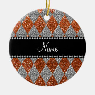Argyle anaranjado quemado nombre personalizado del ornamentos de navidad