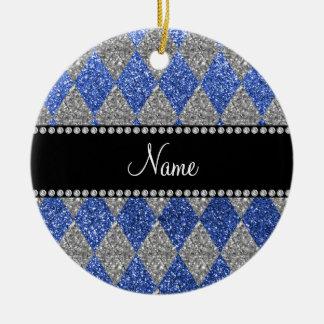Argyle azul conocido personalizado del brillo adorno de navidad