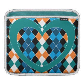 Argyle con el corazón verde funda para iPads
