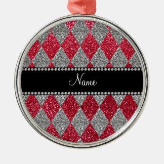 Argyle conocido personalizado del brillo del rojo ornamento de reyes magos