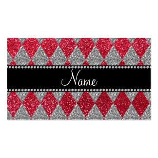 Argyle conocido personalizado del brillo del rojo plantillas de tarjeta de negocio