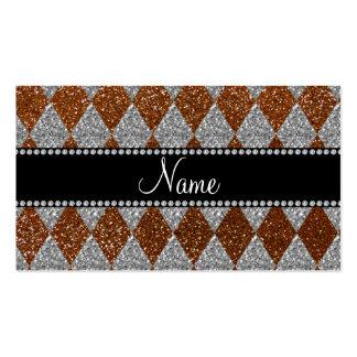 Argyle marrón conocido personalizado del brillo tarjeta de visita