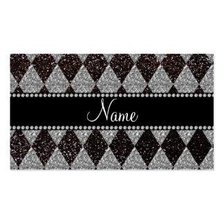Argyle negro conocido personalizado del brillo tarjetas de negocios