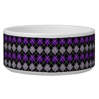 Argyle púrpura comedero para mascota