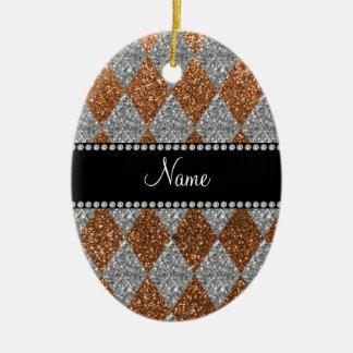 Argyle quemado nombre personalizado del brillo del ornamente de reyes