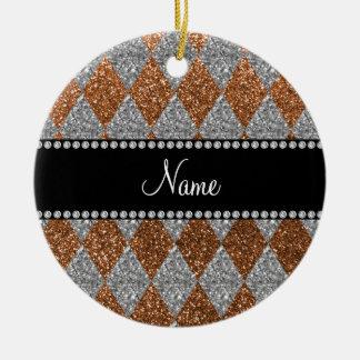 Argyle quemado nombre personalizado del brillo del ornaments para arbol de navidad