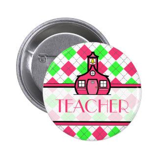 Argyle rosado y verde del botón del profesor - pin