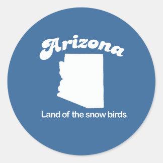 Arizona - tierra de la camiseta de los pájaros de pegatina redonda