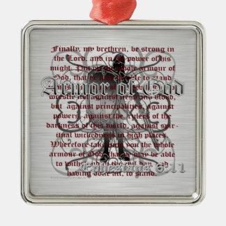 Armadura del soldado de dios adorno navideño cuadrado de metal